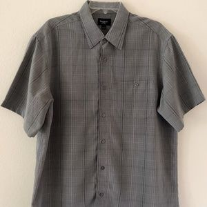 Haggar Mens Shirt Size Large Gray Plaid